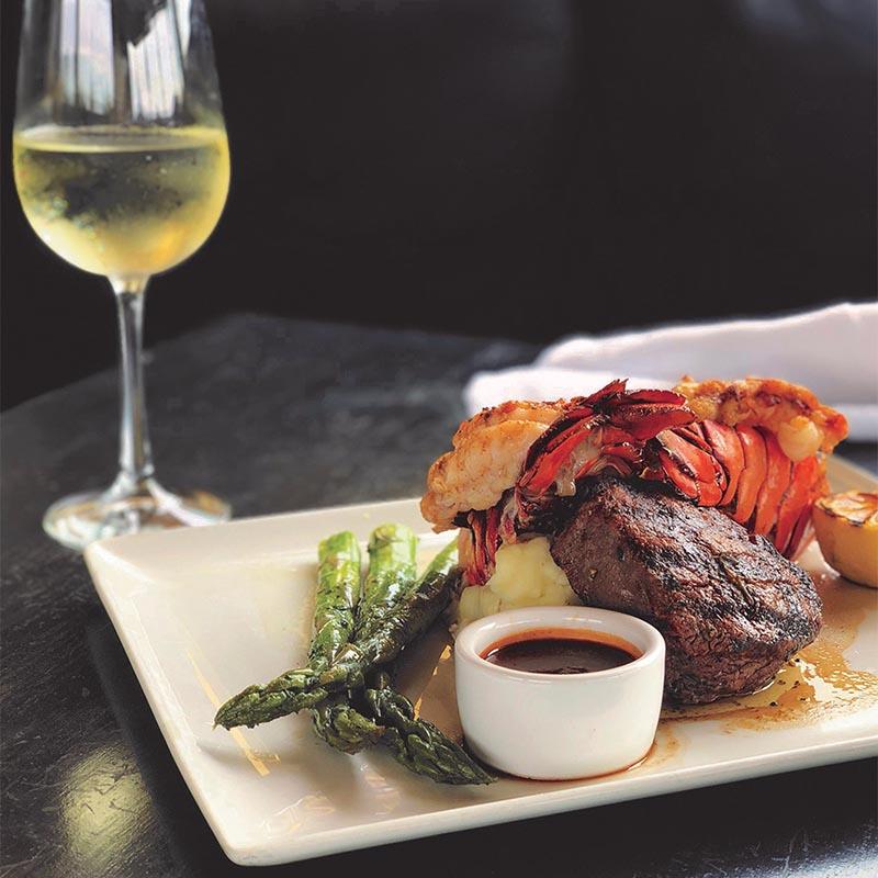 Steak and Lobster dinner plate