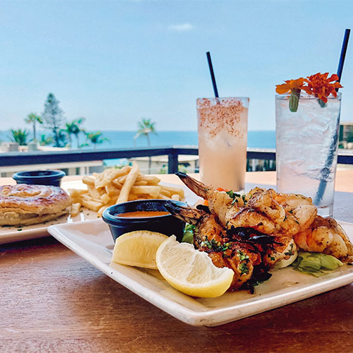 peri peri prawns and iced cocktails